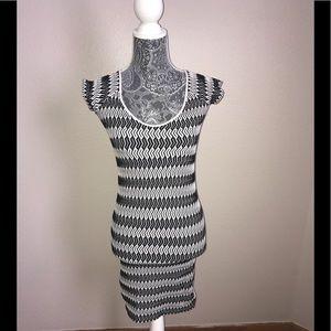 Bebe black and white bodycon dress